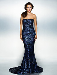 cheap -Mermaid / Trumpet Sweetheart Neckline Court Train Sequined Sparkle & Shine / Open Back / Elegant Formal Evening Dress with Sequin 2020 / Celebrity Style
