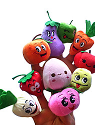 cheap -Fruit Smiling Face Finger Puppets Puppets Cute Novelty Lovely Cartoon Textile Plush Girls' Toy Gift 10 pcs