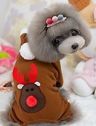 cheap -Dog Pants Christmas Winter Dog Clothes Red Coffee Costume Terylene Cotton XS S M L XL