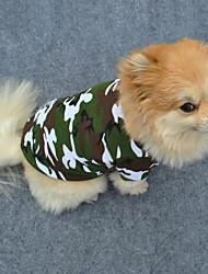 cheap -Dog Shirt / T-Shirt Dog Clothes Green Costume Cotton Camo / Camouflage Fashion XS S M L XL XXL