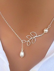 abordables -Collier Pendentif Collier Y Cravate Collier de perles Femme Cravate Perle Perle Imitation de perle Argent Forme de Feuille Pas cher dames Basique Style Simple Mode Tous les jours Argent Collier de