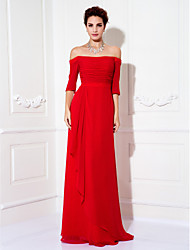 cheap -Sheath / Column Minimalist Red Wedding Guest Formal Evening Dress Off Shoulder Half Sleeve Sweep / Brush Train Chiffon with Ruched Draping 2020