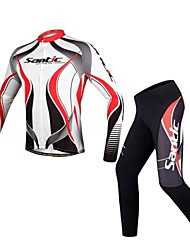 cheap -SANTIC Men's Long Sleeve Cycling Jersey with Tights White / Black Bike Jersey Tights Clothing Suit Breathable Reflective Strips Winter Sports Polyester Curve Mountain Bike MTB Road Bike Cycling