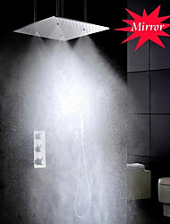 cheap -Shower Faucet Set - Handshower Included Thermostatic Rain Shower Contemporary Chrome Ceiling Mounted Brass Valve Bath Shower Mixer Taps