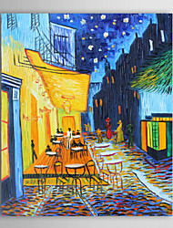 cheap -Oil Painting Paints Handmade Landscape The Café Terrace-Vincent van Gogh Reproduction Stretched Canvas With Stretched Frame