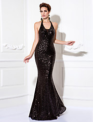 cheap -Mermaid / Trumpet Sparkle Black Party Wear Formal Evening Dress Halter Neck Sleeveless Floor Length Sequined with Sequin 2020