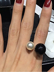 cheap -Women's Statement Ring Pearl White Black Pearl Imitation Pearl Resin Ladies Birthstones Open Wedding Party Jewelry Adjustable / Alloy