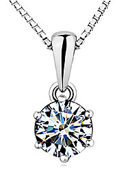 cheap -Women's Diamond Cubic Zirconia Pendant Necklace Solitaire Round Cut Crown Ladies Basic Elegant Sterling Silver Zircon Cubic Zirconia White Necklace Jewelry For Wedding Party Gift Daily Casual