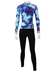 cheap -ILPALADINO Women's Long Sleeve Cycling Jersey with Tights Winter Fleece Light Purple Floral Botanical Bike Clothing Suit Windproof Breathable Quick Dry Back Pocket Sports Floral Botanical Clothing