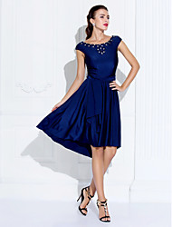cheap -A-Line Jewel Neck Asymmetrical Jersey Cute Cocktail Party / Homecoming / Holiday Dress with Beading / Crystals / Sash / Ribbon 2020