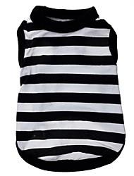 cheap -Cat Dog Shirt / T-Shirt Dog Clothes Black / White Costume Terylene Stripes Heart XS S M L