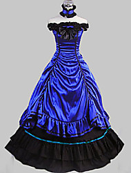 cheap -Rococo Victorian 18th Century Dress Party Costume Masquerade Women's Satin Cotton Costume Dark Blue Vintage Cosplay Party Prom Sleeveless Long Length Ball Gown
