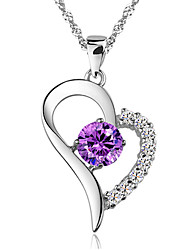 cheap -Women's Amethyst Pendant Necklace Chain Necklace Simulated faceter Vintage Party Work Casual Sterling Silver White Purple Necklace Jewelry For Daily