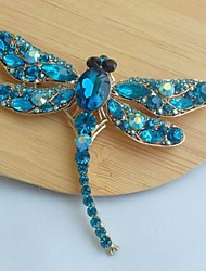 cheap -Women's Classic Alloy Gold-tone Turquoise Rhinestone Crystal Dragonfly Brooch Pin