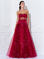 cheap -Ball Gown Celebrity Style See Through Holiday Cocktail Party Prom Dress Strapless Sleeveless Floor Length Organza Satin with Sash / Ribbon Flower 2020 / Formal Evening