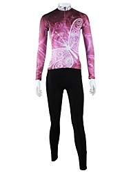 cheap -ILPALADINO Women's Long Sleeve Cycling Jersey with Tights Winter Fleece Light Pink Animal Bike Clothing Suit Windproof Breathable Quick Dry Back Pocket Sports Animal Road Bike Cycling Clothing Apparel