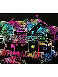 cheap -10pcs 8k magic painting art scratch paper with drawing stick education toys
