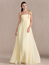 cheap -Sheath / Column Elegant Prom Formal Evening Dress One Shoulder Sleeveless Floor Length Chiffon with Ruched Beading Draping 2021