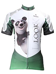 cheap -ILPALADINO Women's Short Sleeve Cycling Jersey - Green Animal Cartoon Panda Bike Jersey Top, Breathable Quick Dry Ultraviolet Resistant, Spring Summer, 100% Polyester / Plus Size
