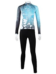 cheap -ILPALADINO Women's Long Sleeve Cycling Jersey with Tights Winter Fleece Blue Floral Botanical Plus Size Bike Clothing Suit Windproof Breathable Quick Dry Back Pocket Sports Floral Botanical Mountain