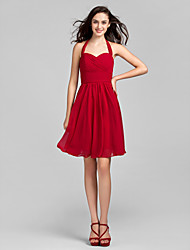 cheap -A-Line Halter Neck Knee Length Chiffon Bridesmaid Dress with Criss Cross / Ruched / Open Back