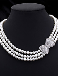 cheap -Women's Clear Necklace Bow Ladies everyday Imitation Pearl Rhinestone White Necklace Jewelry For Wedding Party Special Occasion Anniversary Birthday Gift