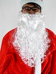 """cheap -16""""Long White Deluxe Curly Santa Claus Beard  Material PP"""