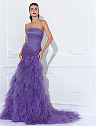 cheap -Mermaid / Trumpet Strapless Court Train Tulle Elegant / Vintage Inspired Prom / Formal Evening Dress with Cascading Ruffles / Criss Cross / Ruched 2020