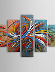 cheap -Oil Painting Paints Handmade Abstract Colorful Circles Hand-painted Canvas Five Panels Ready to Hang With Stretched Frame