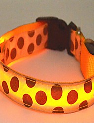 cheap -Cat Dog Collar LED Lights Polka Dot Nylon Pink Green