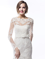 cheap -Long Sleeve Coats / Jackets Lace Wedding Wedding  Wraps With Appliques