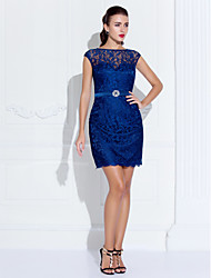 cheap -Sheath / Column Holiday Homecoming Cocktail Party Dress Illusion Neck Sleeveless Short / Mini Lace with Crystals 2020