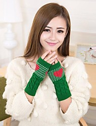 cheap -Women's Autumn And Winter Hearts Printed Knitting Warm Gloves