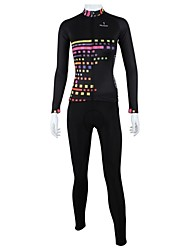 cheap -ILPALADINO Women's Long Sleeve Cycling Jersey with Tights Winter Fleece Black Stripes Bike Clothing Suit Windproof Breathable Quick Dry Back Pocket Sports Stripes Clothing Apparel / High Elasticity