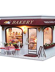 abordables -bricolage bois gâteau à la main miniatures jouets modèle de boutique provence maison de poupée de puzzle