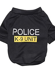 cheap -Cat Dog Shirt / T-Shirt Puppy Clothes Police / Military Letter & Number Fashion Dog Clothes Puppy Clothes Dog Outfits Black Costume for Girl and Boy Dog Cotton XS S M L
