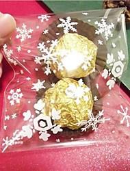 Недорогие -10 штук Рождество снежинка прозрачный мешок подарков