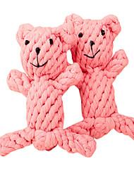 cheap -Little Pink Bear Shape Handmade Rope Pets Toy