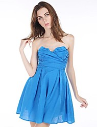 cheap -Women's Blue Dress Spring Party Solid Colored