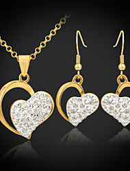 cheap -Women's Crystal Jewelry Set Drop Earrings Pendant Necklace Heart Love Ladies Unique Design Elegant Crystal Rhinestone Gold Plated Earrings Jewelry Golden For Wedding Party Birthday Engagement Gift