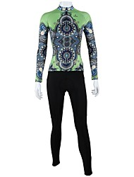 cheap -ILPALADINO Women's Long Sleeve Cycling Jersey with Tights Black / Green Plus Size Bike Clothing Suit Windproof Breathable Quick Dry Back Pocket Sports Floral / Botanical Mountain Bike MTB Road Bike