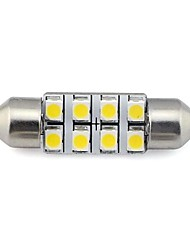 cheap -2 pieces 36MM 8x3528 SMD 1.3W 60LM Car Auto Festoon Light for Reading License Plate Lamp White Warm White DC 12V