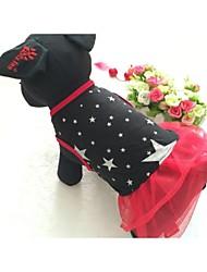 Недорогие -Собака Платья Одежда для собак Черный Красный Костюм Хлопок Смешанные материалы Звезды На каждый день XS S M L