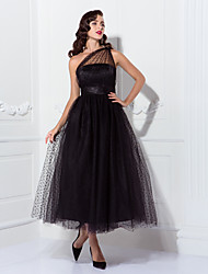 cheap -A-Line Vintage Black Cocktail Party Prom Dress One Shoulder Sleeveless Ankle Length Tulle with Pleats Pattern / Print 2020