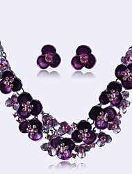 cheap -Amethyst Jewelry Set Ladies Party European Rhinestone Earrings Jewelry Black / Purple / Rainbow For / Necklace