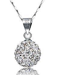 cheap -Women's Pendant Necklace Ball Pave Ball Ladies Basic Fashion Blinging Sterling Silver Rhinestone Silver Necklace Jewelry For Wedding Daily Casual Masquerade Engagement Party Prom