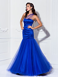 cheap -Mermaid / Trumpet Illusion Neck Floor Length Tulle / Stretch Satin Inspired by Golden Globe / Celebrity Style / Vintage Inspired Formal Evening / Military Ball Dress with Draping 2020