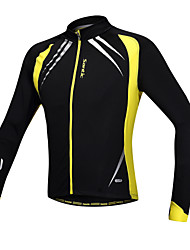 cheap -SANTIC Men's Cycling Jacket Bike Jacket / Jersey / Top Windproof, Fleece Lining, Breathable Patchwork Spandex, Fleece Winter Yellow / Black Advanced Mountain Cycling Semi-Form Fit Bike Wear Advanced