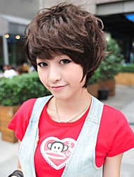 Недорогие -моды короткий коричневый кудрявый парик волос