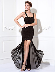 cheap -Sheath / Column Little Black Dress Cocktail Party Prom Dress Straps Tea Length Chiffon Stretch Satin with Ruched 2021